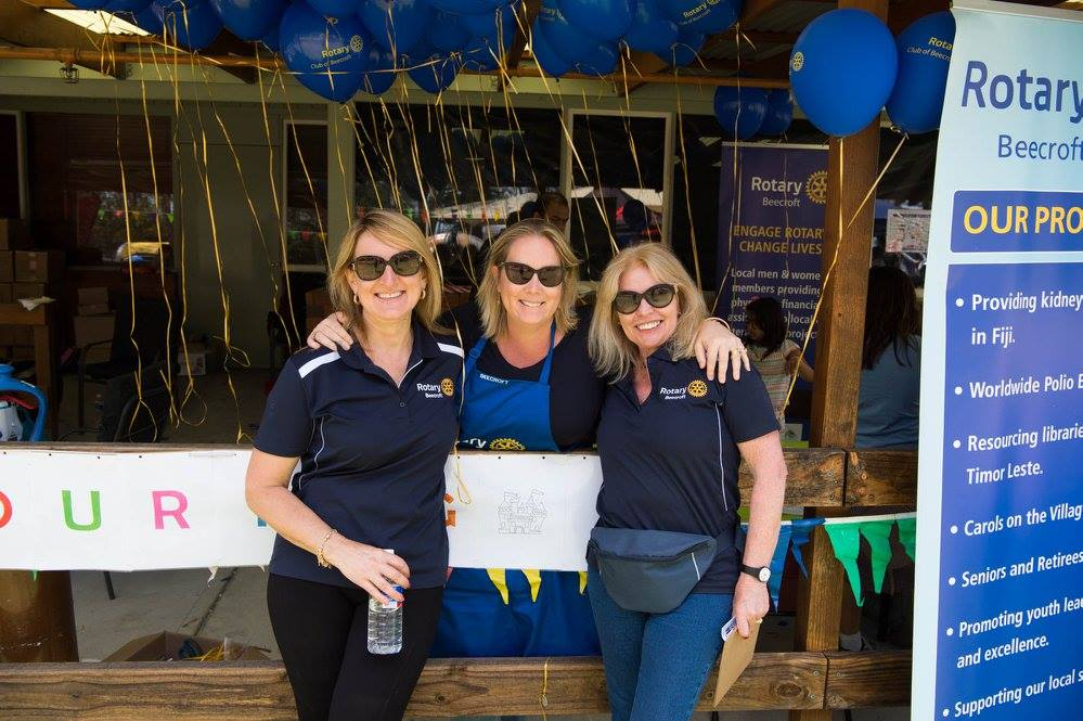 Rotarians Anne and Johanna with friend Lis volunteering at the 2017 Inala Fair