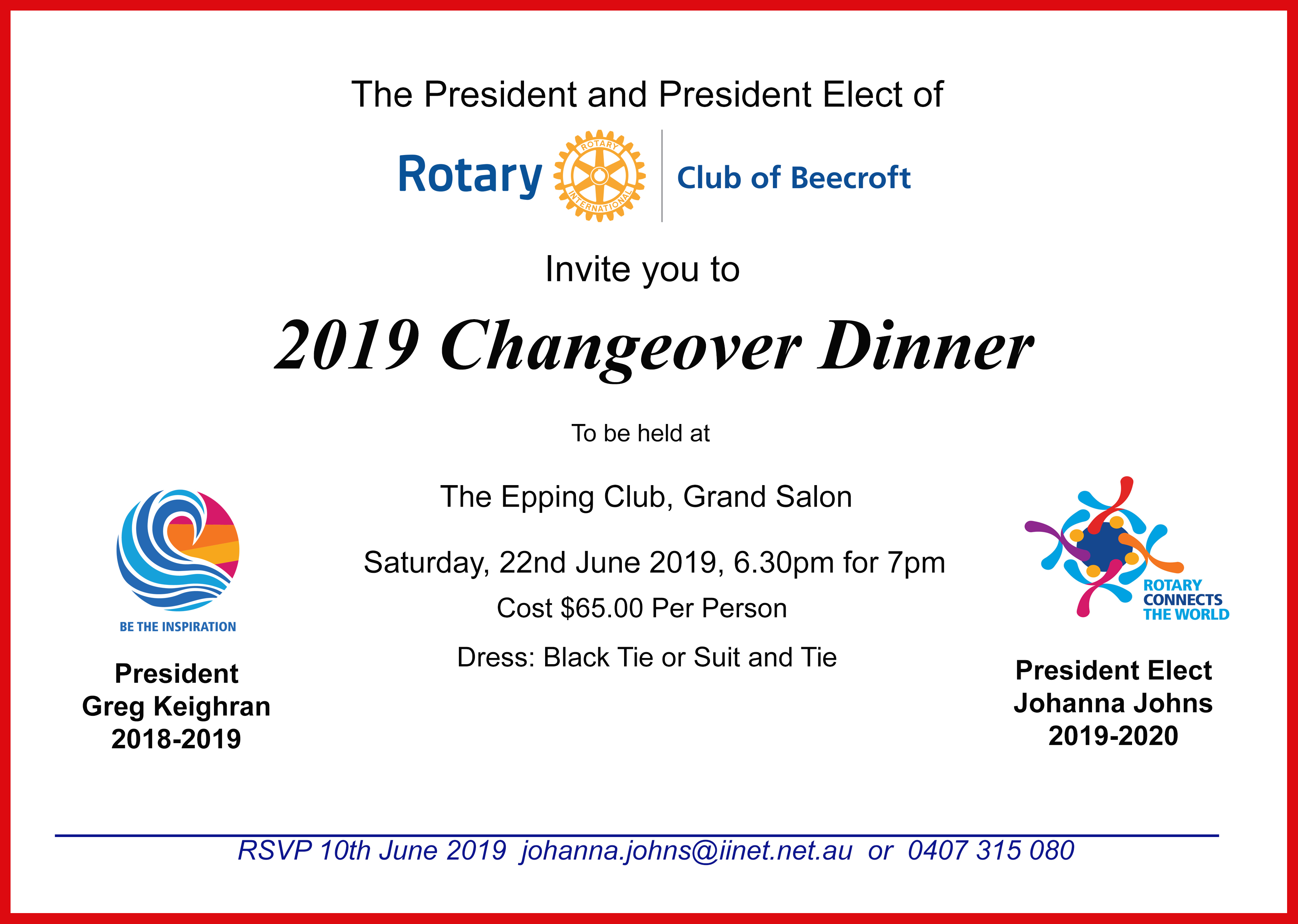Beecroft Rotary Changeover Dinner